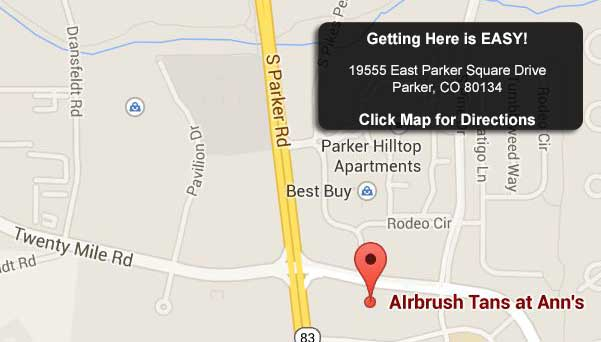 Map to Airbrush Tans at Ann's parker colorado
